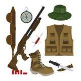伪装帽子,有壳的枪 在平的样式设置的猎人 免版税库存图片