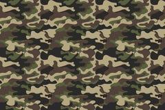 伪装无缝的样式背景 水平的无缝的横幅 经典衣物样式掩没的camo重复印刷品 绿色褐色 库存照片