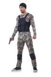 伪装的战士与枪 免版税图库摄影