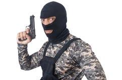 伪装的战士与枪 图库摄影