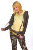 伪装给青少年的女孩穿衣 免版税库存图片