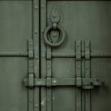 伪造的古色古香的门 免版税库存照片