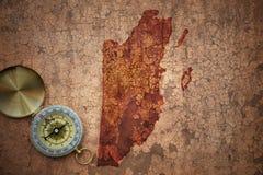 伯利兹地图一张老葡萄酒裂缝纸的 图库摄影
