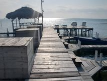 伯利兹平安的海滩 免版税库存图片