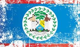 伯利兹旗子  r 起皱纹的肮脏的斑点 库存例证