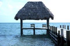 伯利兹海滩前面 库存照片