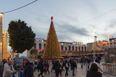 伯利恒,巴勒斯坦- 2018年12月1日:圣诞树在伯利恒 免版税库存图片