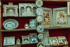 伯利恒,以色列- 2013年2月19日:纪念品店wi墙壁  免版税图库摄影