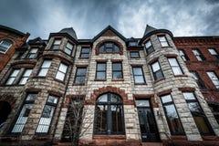伯勒屯小山的,巴尔的摩,马里兰美丽的行格住宅 免版税库存照片