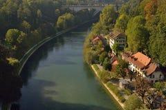伯尔尼市看法从桥梁的 瑞士 免版税图库摄影