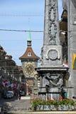 伯尔尼,黄昏的瑞士的市中心 免版税库存照片