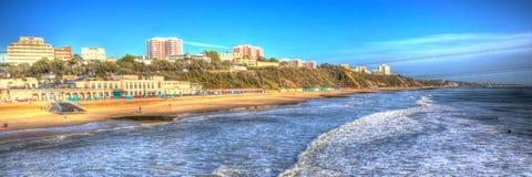 伯恩茅斯海滩码头和海岸多西特英国英国喜欢绘的HDR 库存图片