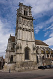 伯根地酒在sens附近的教会城市法国 库存照片