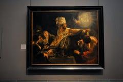 伯沙撒王` s宴餐全国画象画廊的伦布兰特,伦敦 库存图片