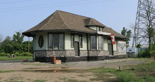 伯灵屯连接点火车站,加拿大,在修理4K中 股票视频