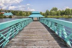 伯纳德Valcourt步行桥, Edmundston 免版税库存图片