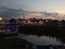 伯萨Golyazi海和日落时间 库存照片