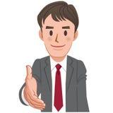 延伸为握手的动画片商人 免版税库存图片