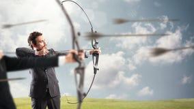 伸手可及的距离和命中新的企业目标的挑战 图库摄影