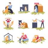似犬和似猫的避难所狗和猫房子 库存例证