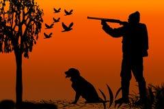 似犬猎人剪影 向量例证