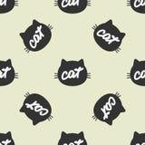 似猫的头剪影有手写的文本猫的 上色模式无缝 库存例证
