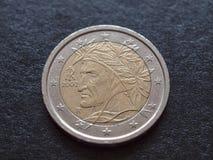 但丁・阿利吉耶里EUR硬币 免版税库存照片