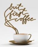 但是与杯子,印刷术海报的第一咖啡行情 对贺卡、印刷品或者家庭装饰3D翻译 库存图片