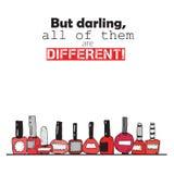 但是亲爱的,所有是不同的 关于红色指甲油瓶的五颜六色的字法 在白色背景正方形vert 库存图片