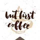 但是第一个咖啡印刷品 免版税库存图片