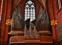 位于一个老卫理公会教派的教堂的一部大19世纪管风琴, 免版税库存图片
