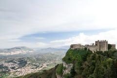 位于埃里切的一座中年城堡意大利,西西里岛,省  免版税图库摄影