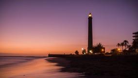 位于大加那利岛,西班牙海岛的Maspalomas灯塔照片  免版税库存照片