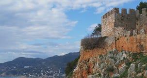 位于小山的上面的内在城堡 alanya城堡世纪海岸堡垒片段找出地中海山海运顶层火鸡xiii 影视素材
