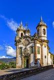 位于欧鲁普雷图市的18世纪的古老的天主教堂 库存图片