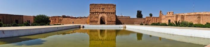 位于马拉喀什的一个被破坏的16世纪Saadian朝代El巴迪宫殿的遗骸,摩洛哥 免版税图库摄影