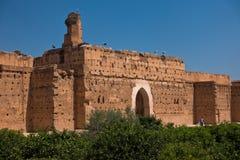 位于马拉喀什的一个被破坏的16世纪Saadian朝代El巴迪宫殿的遗骸,摩洛哥 免版税库存图片