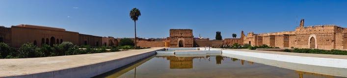 位于马拉喀什的一个被破坏的16世纪Saadian朝代El巴迪宫殿的遗骸,摩洛哥 免版税库存照片