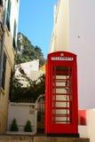 位于直布罗陀的偶象英国电话亭特写镜头细节  免版税图库摄影
