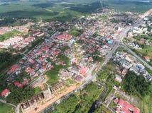 位于guchil的住宅区鸟瞰图,瓜拉krai,吉兰丹,马来西亚 库存照片