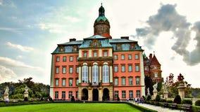 位于WaÅ 'brzych的KsiÄ… Å ¼城堡在波兰 图库摄影