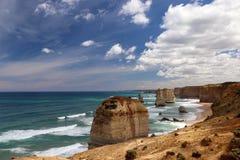 12位传道者坎贝尔港,大洋路在维多利亚在坎贝尔港,大洋路附近的12位传道者在维多利亚,澳大利亚 免版税库存照片