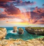 12位传道者澳洲极大的海洋路 从背脊panorami的鸟瞰图 图库摄影