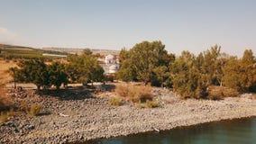 12位传道者的东正教 加利利海 Capernaum 空中移动式摄影车 股票录像