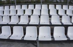 位子白色行在体育场的 库存图片