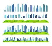位差作用准备好城市未来大厦摩天大楼分开的场面建筑学和风景 免版税库存照片