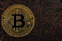 位硬币概念 金币、计算机电路板与位硬币处理器和微集成电路,电子货币,电子商务,实习生 免版税库存图片