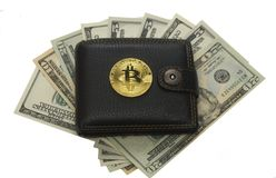位硬币钱包和纸美元现金 免版税图库摄影