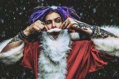低劣的圣诞老人画象  图库摄影