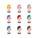 低劣的女孩- 9种不同头发颜色 免版税图库摄影